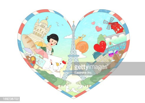 Attractions of France : Stock Illustration