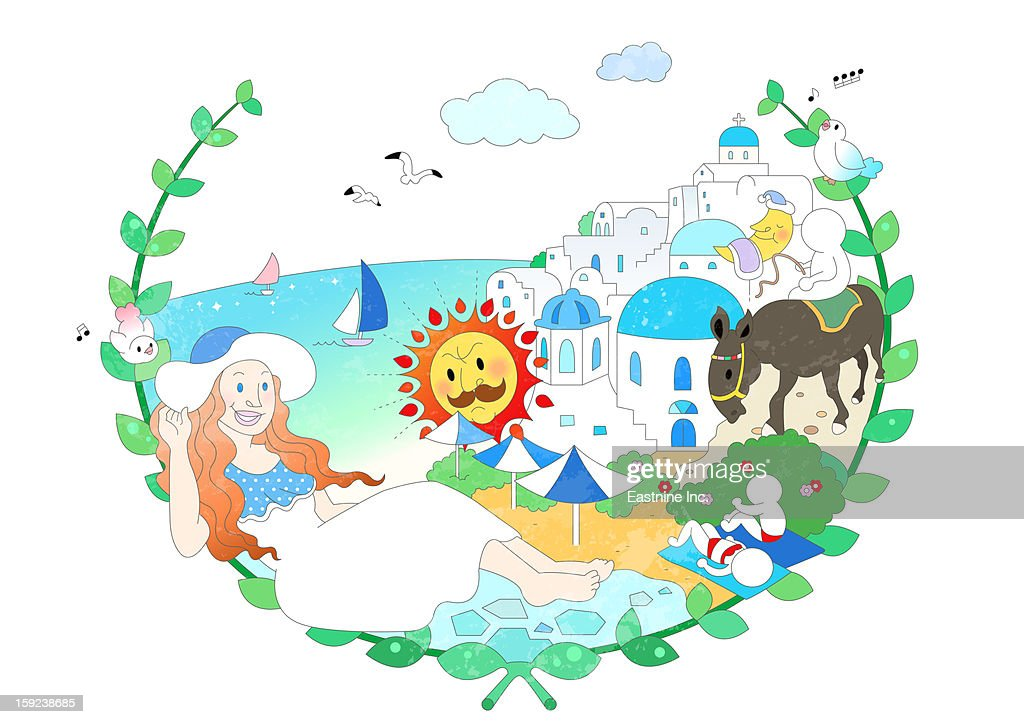 Attractions of Greece : Stock Illustration