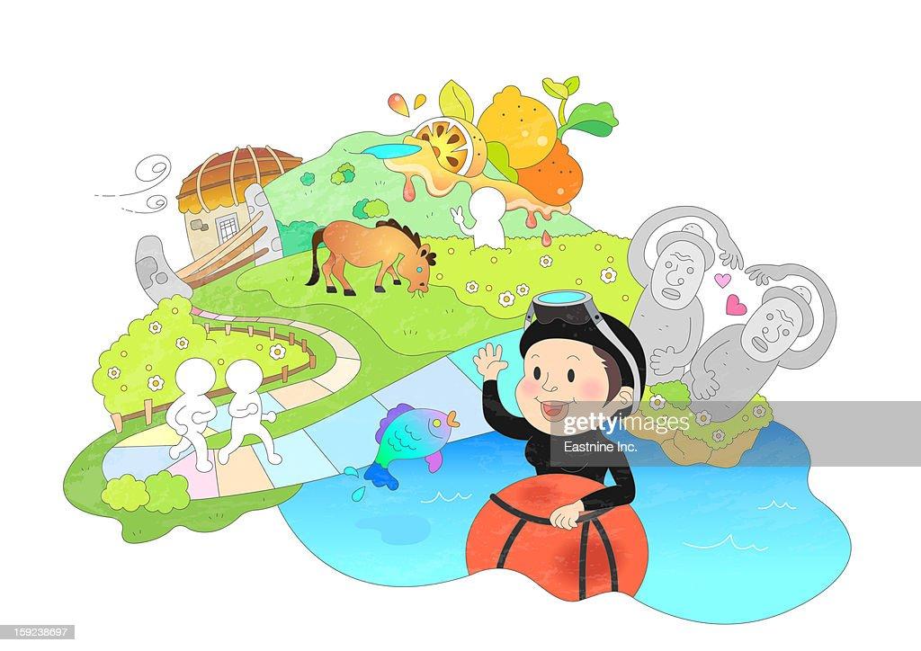 Attractions of Jeju island : Stock Illustration