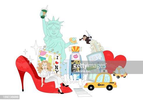 Attractions of New York : ストックイラストレーション