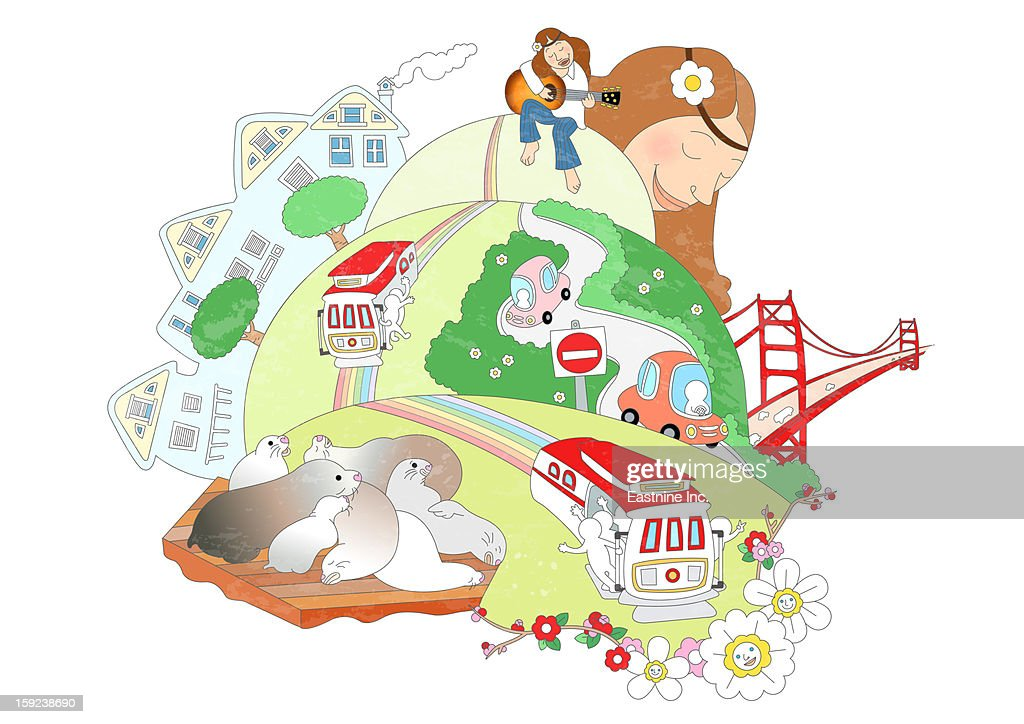 Attractions of San Francisco : Stock Illustration