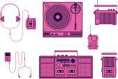 Illustration of a selection of home/portable audio devices