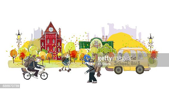Autumn in the City background : Stock Illustration