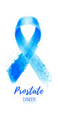 Awareness Blue Ribbon card. World Prostate Cancer Day illustration. Men healthcare. Watercolor painting illustration on white background