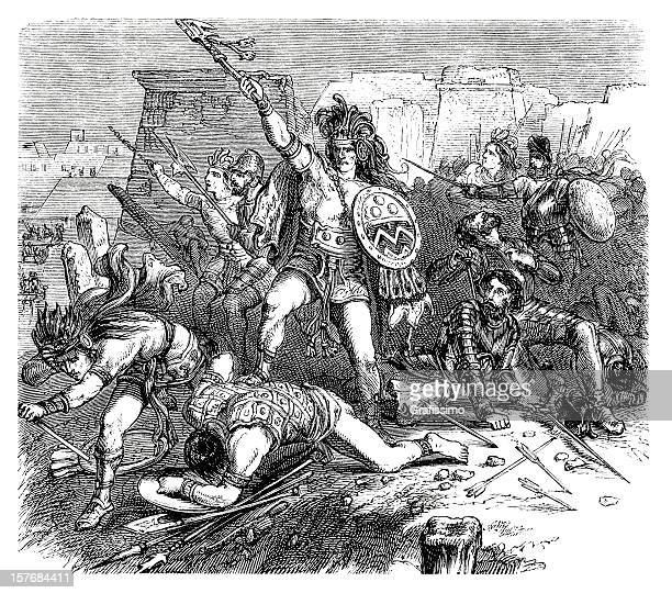 Aztec and spanish troups in a battle engraving 1870