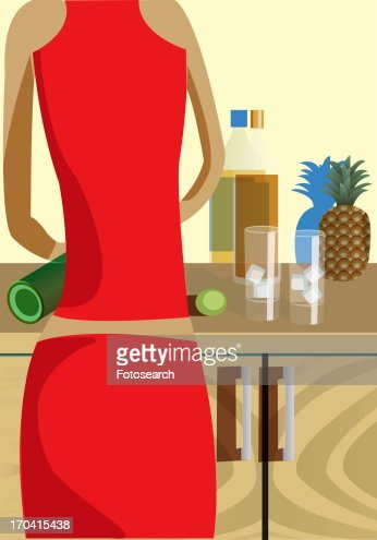 Back of a woman tending bar : Stock Illustration
