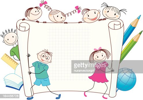 Back to School. Group of funny children. : Vector Art