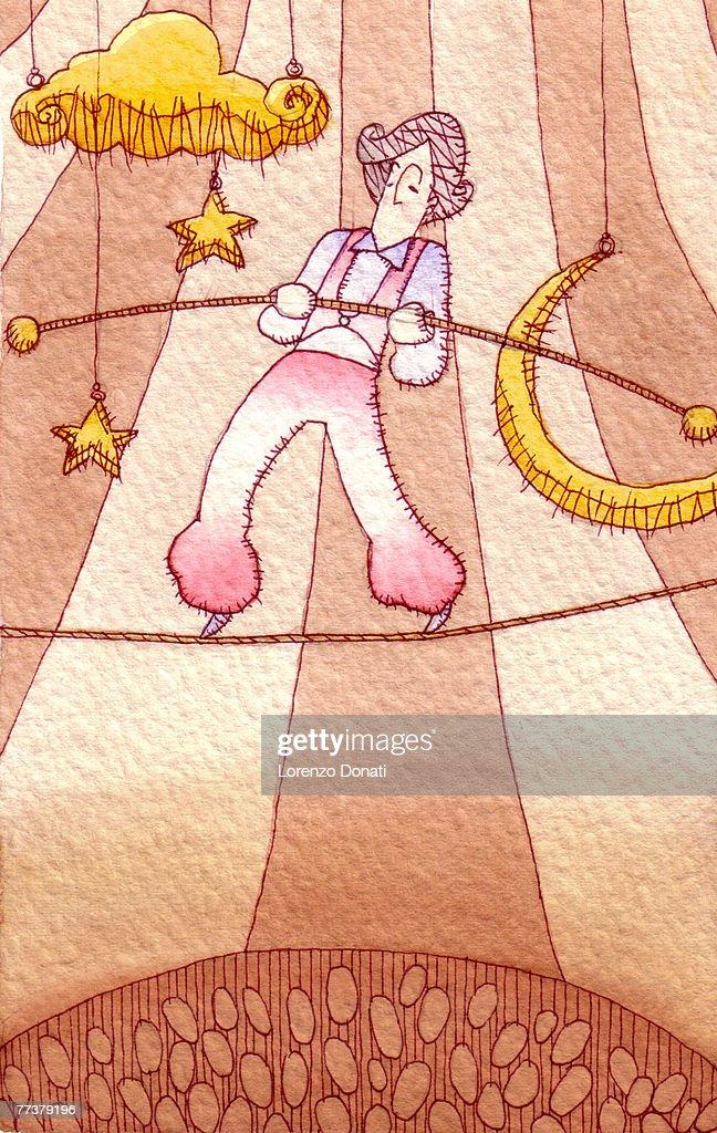 A balancing act at a circus involving a man walking on the tightrope : Stock Illustration