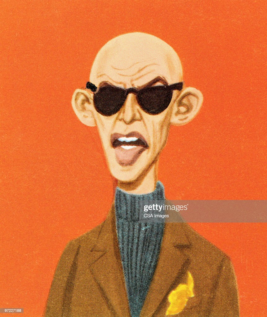 Bald man in tweed and sunglasses : Stock Illustration
