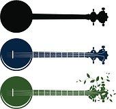 Banjo concept illustration silhouettes.