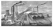 19th century illustration of Barrow hematite steel works, in Cumbria, England. Published in 'The Practical Magazine, an Illustrated Cyclopedia of Industrial News, Inventions and Improvements, collecte