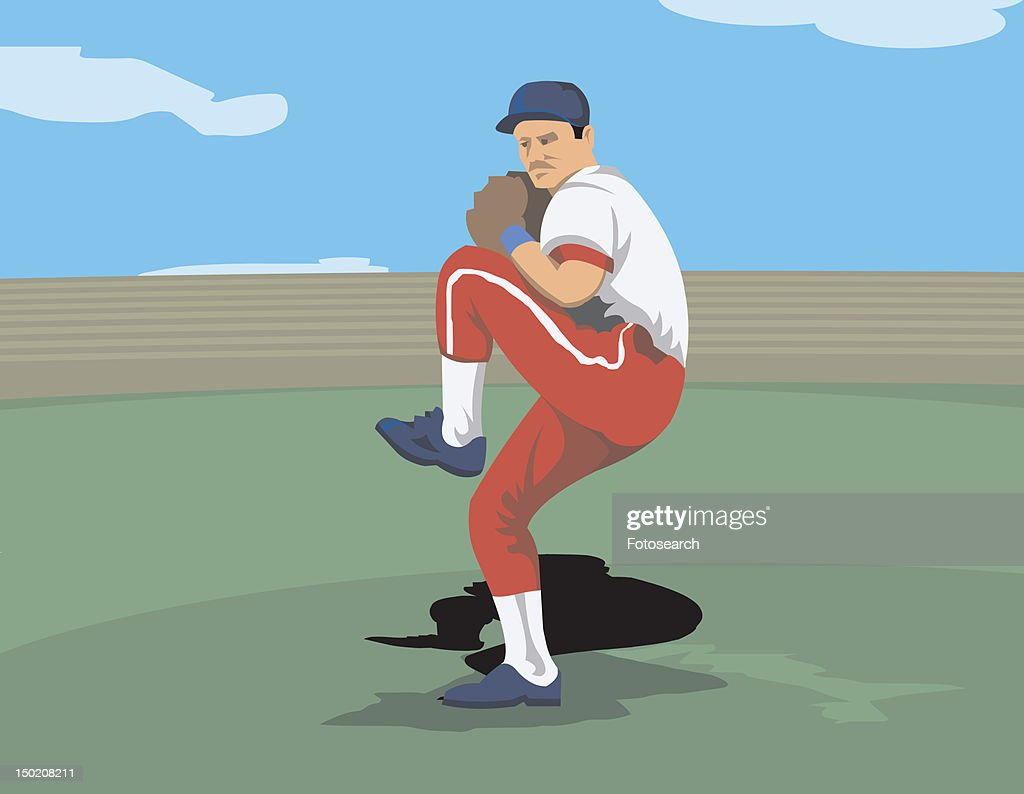 Baseball pitcher in his wind-up : Stock Illustration