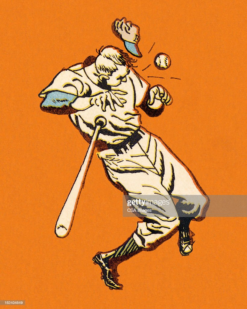Baseball Player Being Hit With Baseball : Stock Illustration