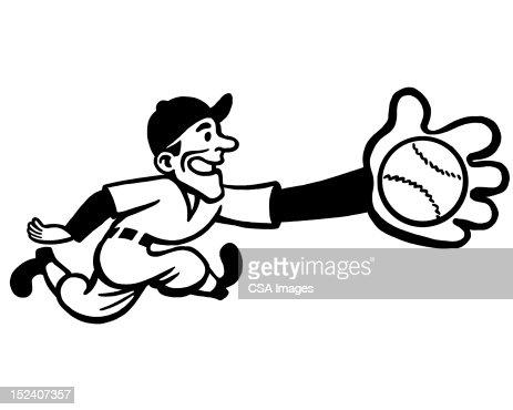 Baseball Player Catching Ball : Stock Illustration