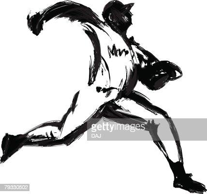 Baseball Player, Pen and Ink : ベクトルアート