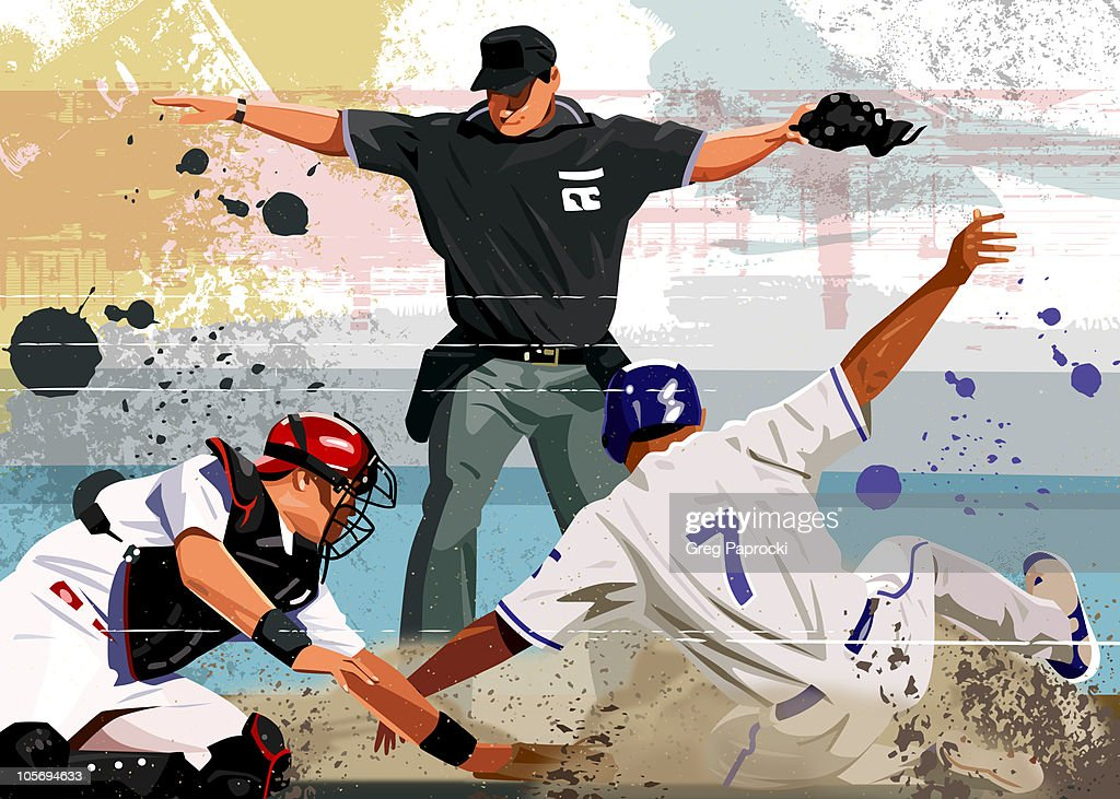 Baseball player safe at home plate : Stock Illustration