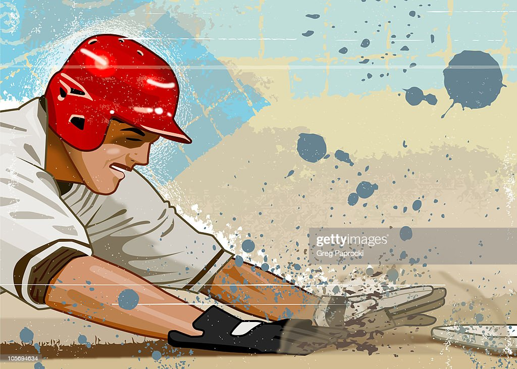 Baseball player sliding into base : Stock Illustration