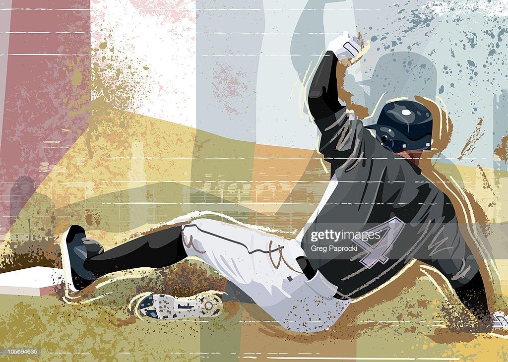 Baseball player sliding into base : Stock Illustration