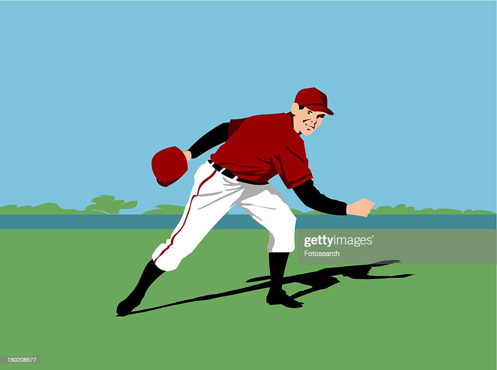Baseball player standing in a stadium : Stock Illustration