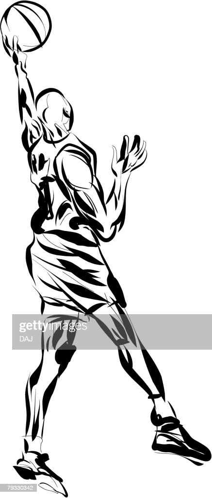Basketball Player, Pen and Ink : Vector Art