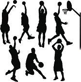 Seven unique basketball players.