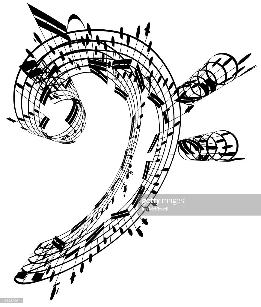 bass clef made of music notes stock illustration getty images