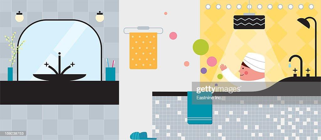 Bathroom interior : Stock Illustration