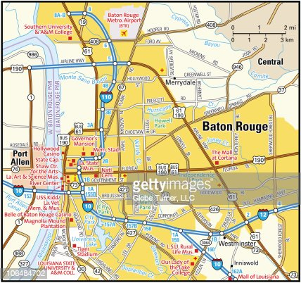 Baton Rouge Area Map Vector Art  Getty Images