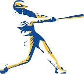 Stylized baseball batter hitting a long homerun!!  Zip file contains both ai and eps