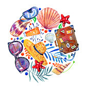 Beach objects, shells and flowers in round composition - suitcase, glasses, hat, snorkeling mask. Hand drawn watercolor illustration isolated on white background