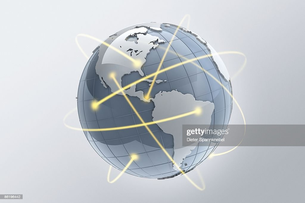 Beams of light orbit a globe : Stock Illustration