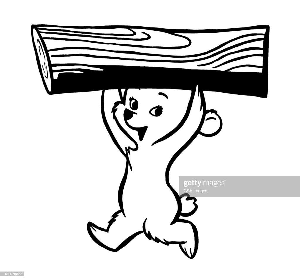 Bear Cub Carrying Log : Stock Illustration