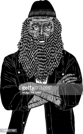 A bearded man standing with his arms crossed : Stock Illustration
