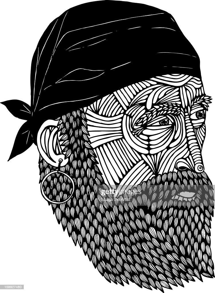A bearded man with a bandana : Stock Illustration