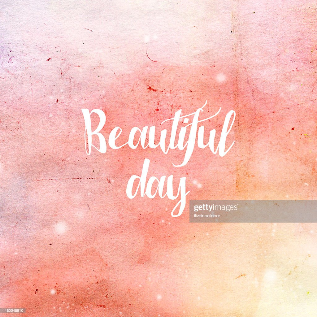 'Beautiful Day' typography poster in pink and yellow colors. : Stock Illustration