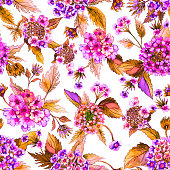 Beautiful pink lantana flowers with orange leaves on white background. Seamless floral pattern.  Watercolor painting. Hand drawn illustration. Can be used as for fabric, wallpaper, wrapping paper.