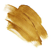 Beautiful textured dark golden strokes isolated on white background.