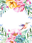 Beautiful watercolor card with place for text with roses,flowers,foliage,succulent plant,branches,hummingbird.Handpainted illustration.Can be used as a greeting card,wedding,invitation,lettering etc
