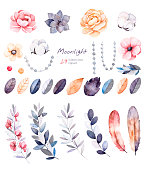 Beautiful winter collection with branches,cotton plants,flowers,strings of pearls,colorful leaves.Winter floral collection with 29 watercolor elements.Set of floral elements.Moonlight collection.