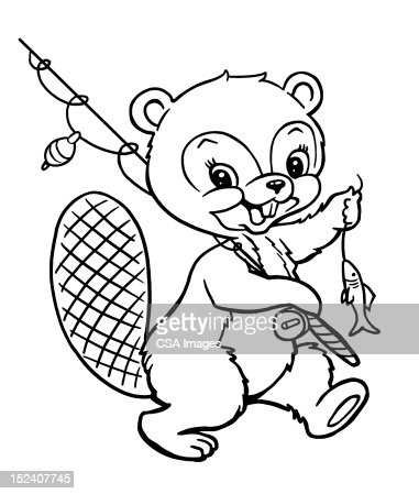 beaver with fishing pole and fish stock illustration | getty images, Fishing Rod