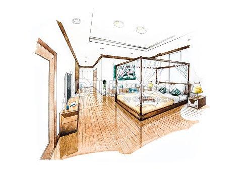 Dormitorio dise o de pintura de acuarela ilustraci n de for Dessin architecte interieur