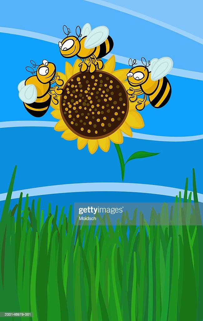 Bees surrounding flower : Stock Illustration