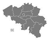 Belgium regions Map in grey