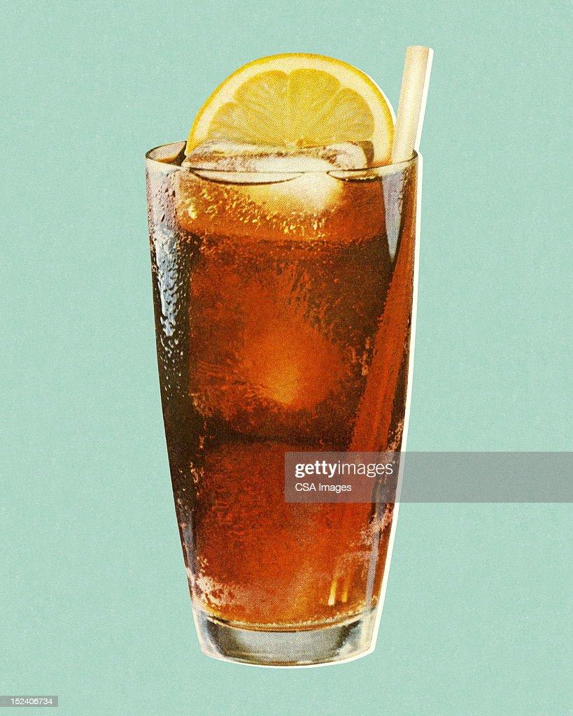 Beverage and Lemon in Glass : Stock Illustration