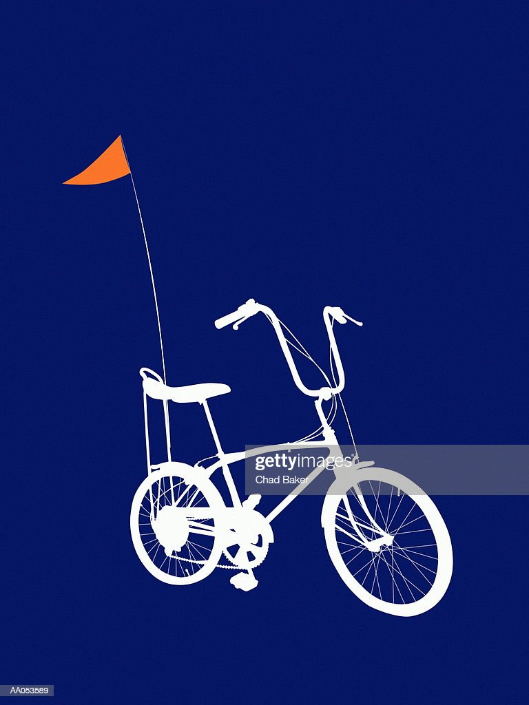 Bicycle with banana seat and flag : Stock Illustration