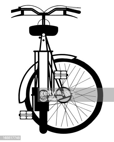Bicycle with Wheel Turned Sideways : Stock Illustration
