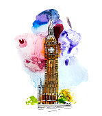 Big Ben, London UK. Sketch with colourful water colour effects.
