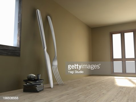 Big knife and fork in the room : Stock Illustration