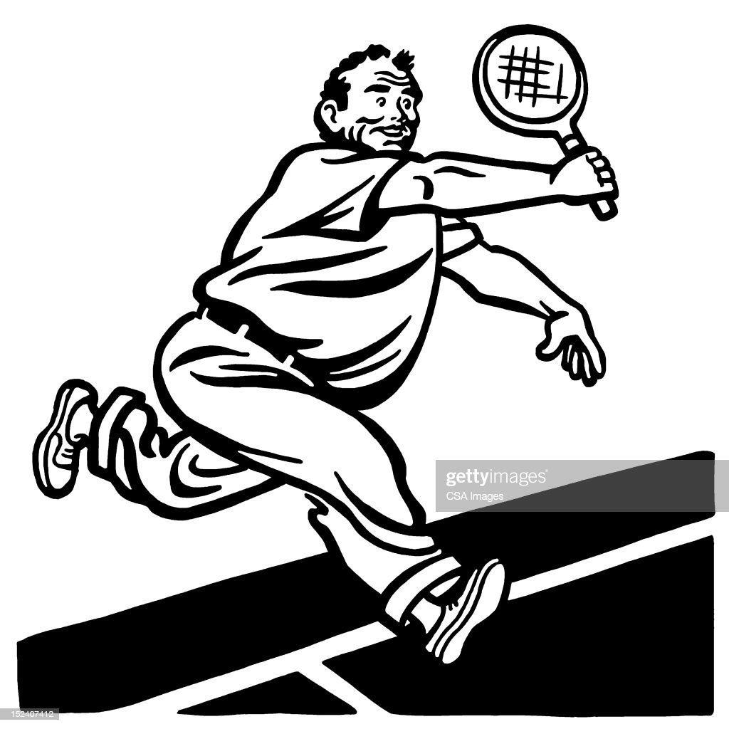 Big Man Playing Tennis : Stock Illustration