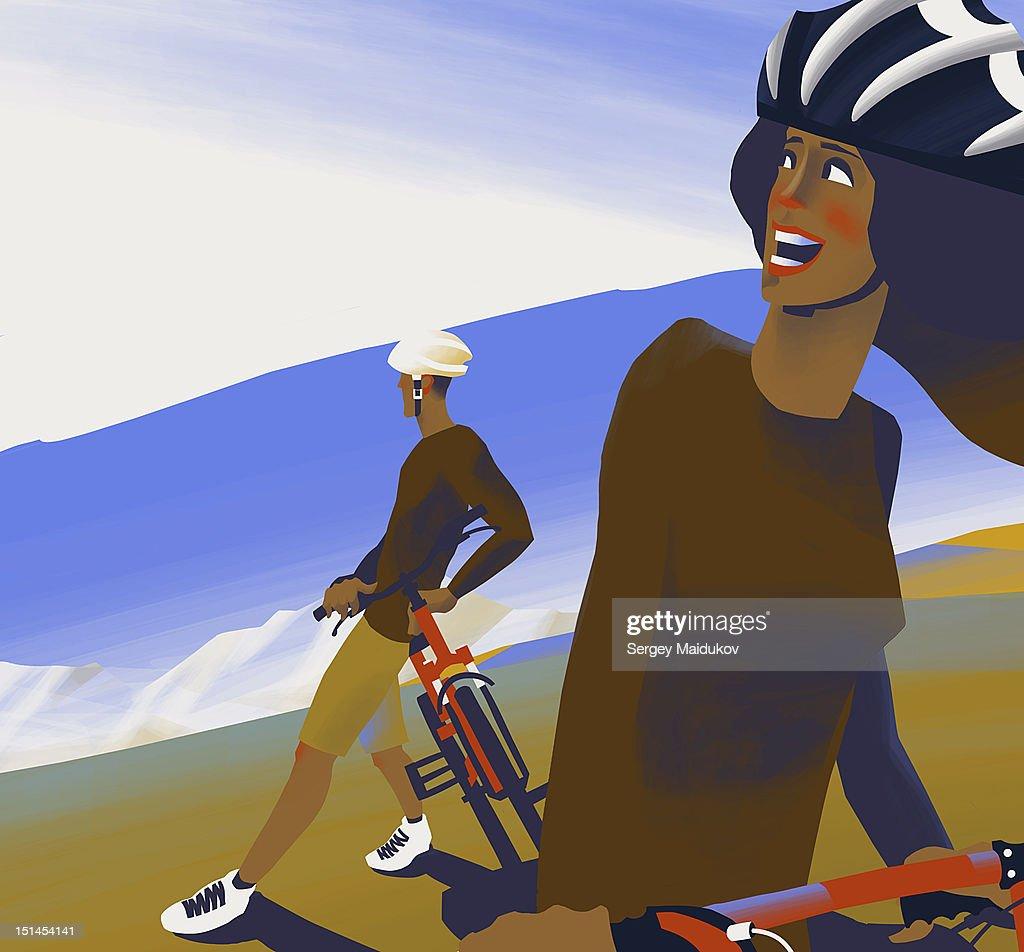 Bikes and mountains : Stock Illustration